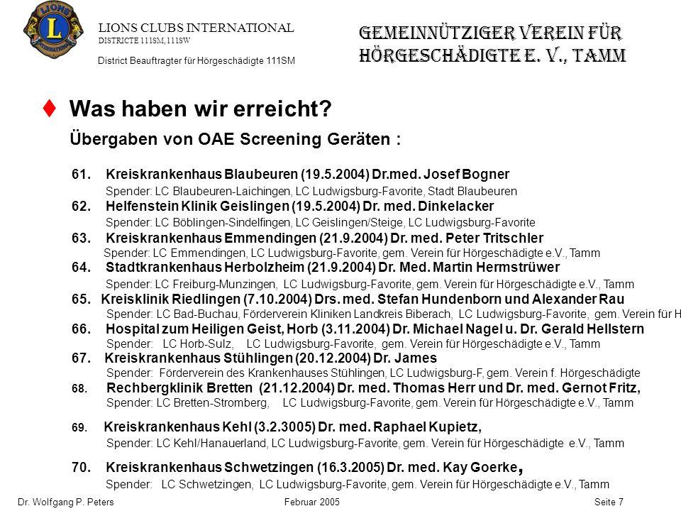 LIONS CLUBS INTERNATIONAL DISTRICTE 111SM, 111SW GEMEINNÜTZIGER VEREIN FÜR HÖRGESCHÄDIGTE e.