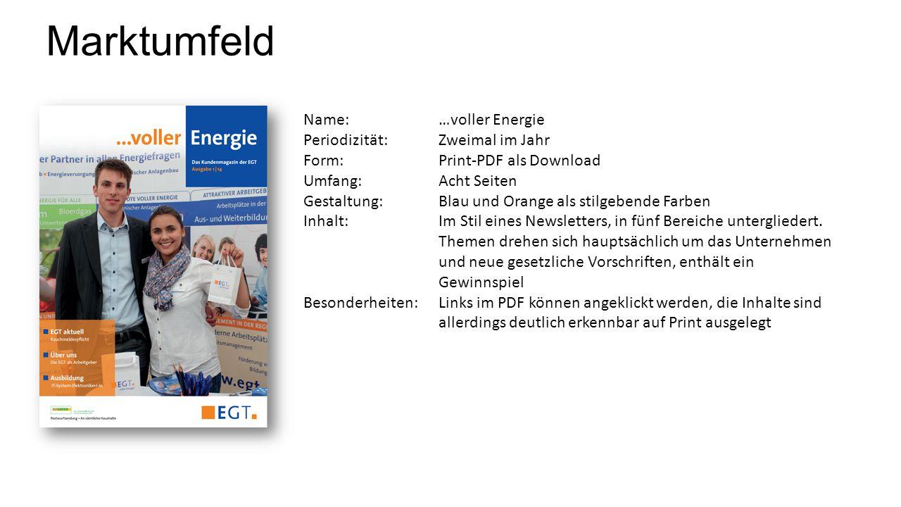 Marktumfeld Name: …voller Energie Periodizität:Zweimal im Jahr Form:Print-PDF als Download Umfang:Acht Seiten Gestaltung:Blau und Orange als stilgeben