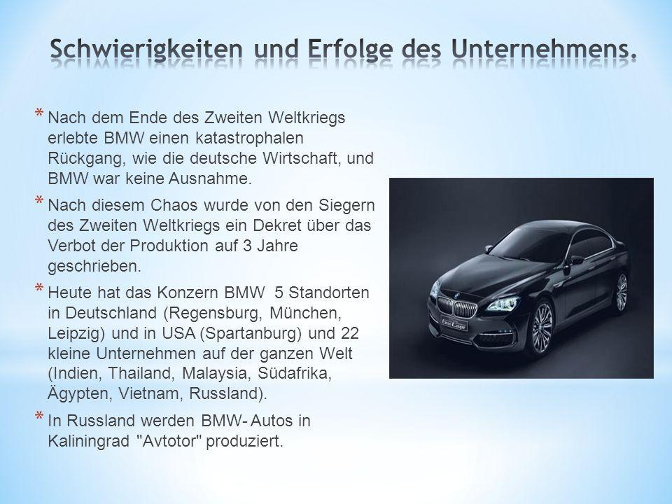 * Nach dem Ende des Zweiten Weltkriegs erlebte BMW einen katastrophalen Rückgang, wie die deutsche Wirtschaft, und BMW war keine Ausnahme. * Nach dies
