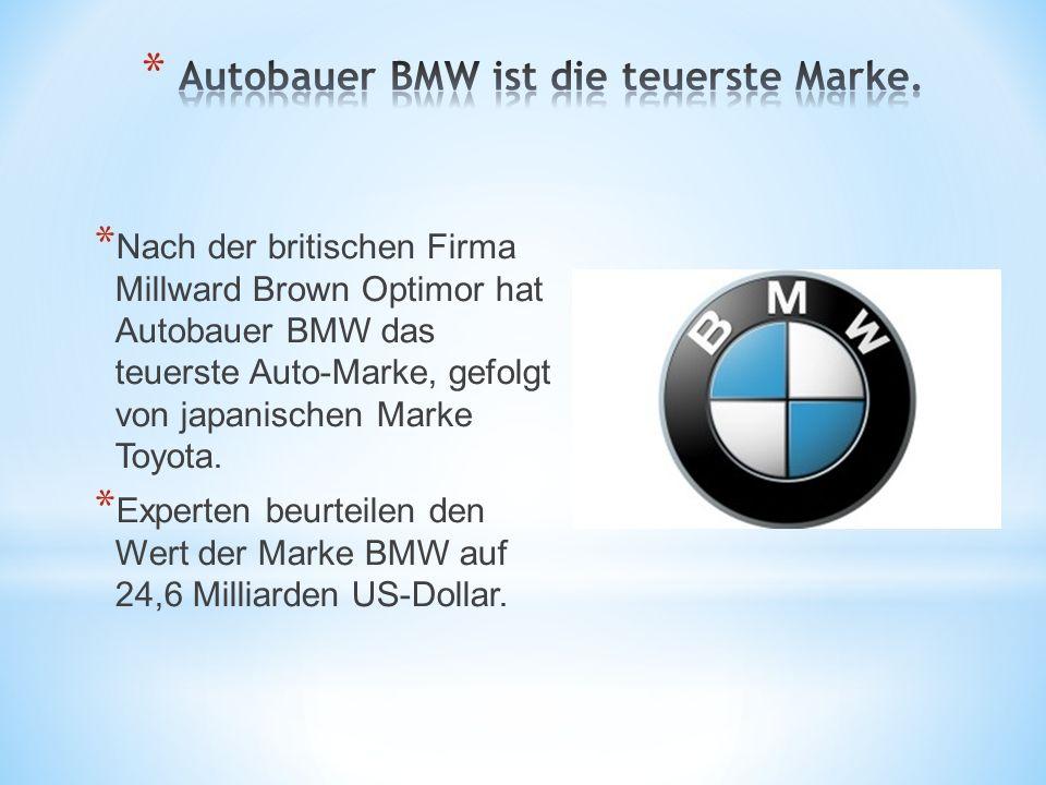 * Nach der britischen Firma Millward Brown Optimor hat Autobauer BMW das teuerste Auto-Marke, gefolgt von japanischen Marke Toyota. * Experten beurtei