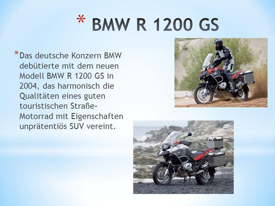 * Das deutsche Konzern BMW debütierte mit dem neuen Modell BMW R 1200 GS in 2004, das harmonisch die Qualitäten eines guten touristischen Straße- Moto