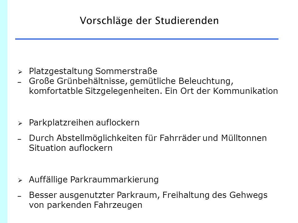 Vorschläge der Studierenden  Platzgestaltung Sommerstraße – Große Grünbehältnisse, gemütliche Beleuchtung, komfortatble Sitzgelegenheiten.