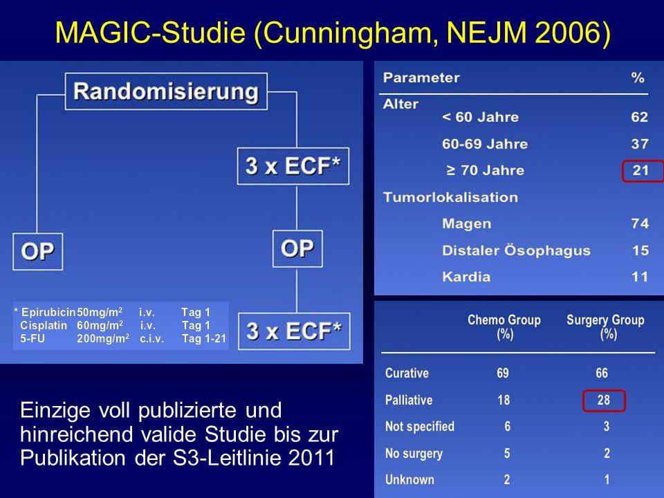 Einzige voll publizierte und hinreichend valide Studie bis zur Publikation der S3-Leitlinie 2011 MAGIC-Studie (Cunningham, NEJM 2006)