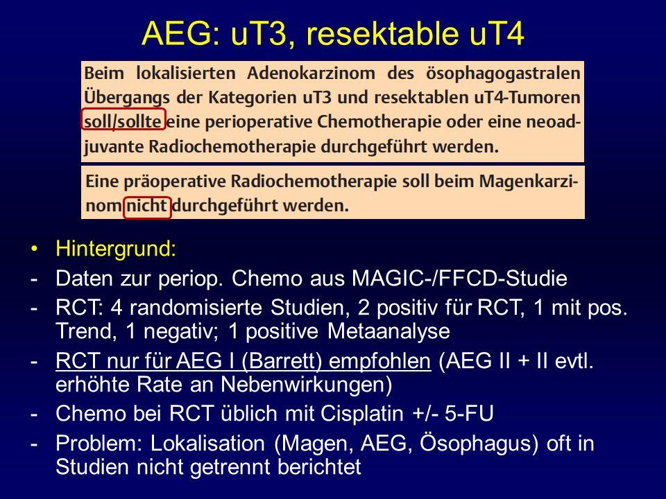 AEG: uT3, resektable uT4 Hintergrund: -Daten zur periop. Chemo aus MAGIC-/FFCD-Studie -RCT: 4 randomisierte Studien, 2 positiv für RCT, 1 mit pos. Tre