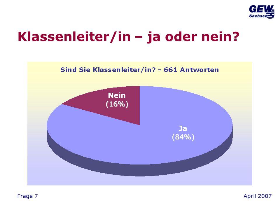 April 2007Frage 7 Klassenleiter/in – ja oder nein Ja(84%) Nein(16%)