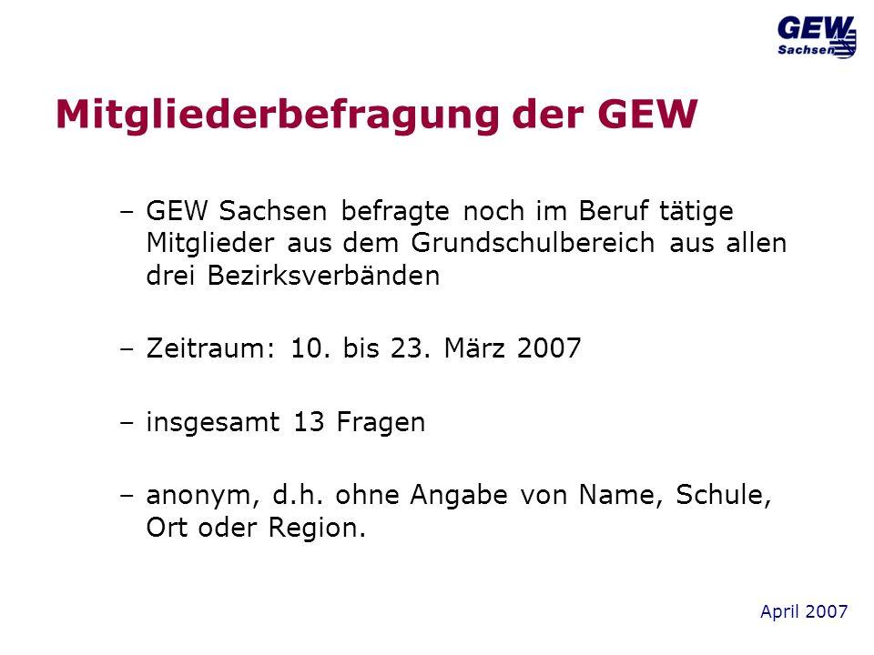 April 2007 Mitgliederbefragung der GEW –GEW Sachsen befragte noch im Beruf tätige Mitglieder aus dem Grundschulbereich aus allen drei Bezirksverbänden –Zeitraum: 10.