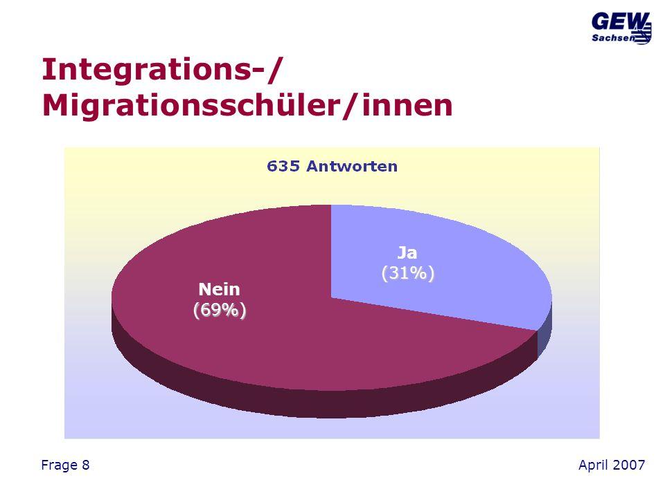 April 2007Frage 8 Integrations-/ Migrationsschüler/innen Ja(31%) Nein(69%)