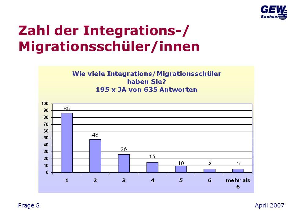 April 2007Frage 8 Zahl der Integrations-/ Migrationsschüler/innen
