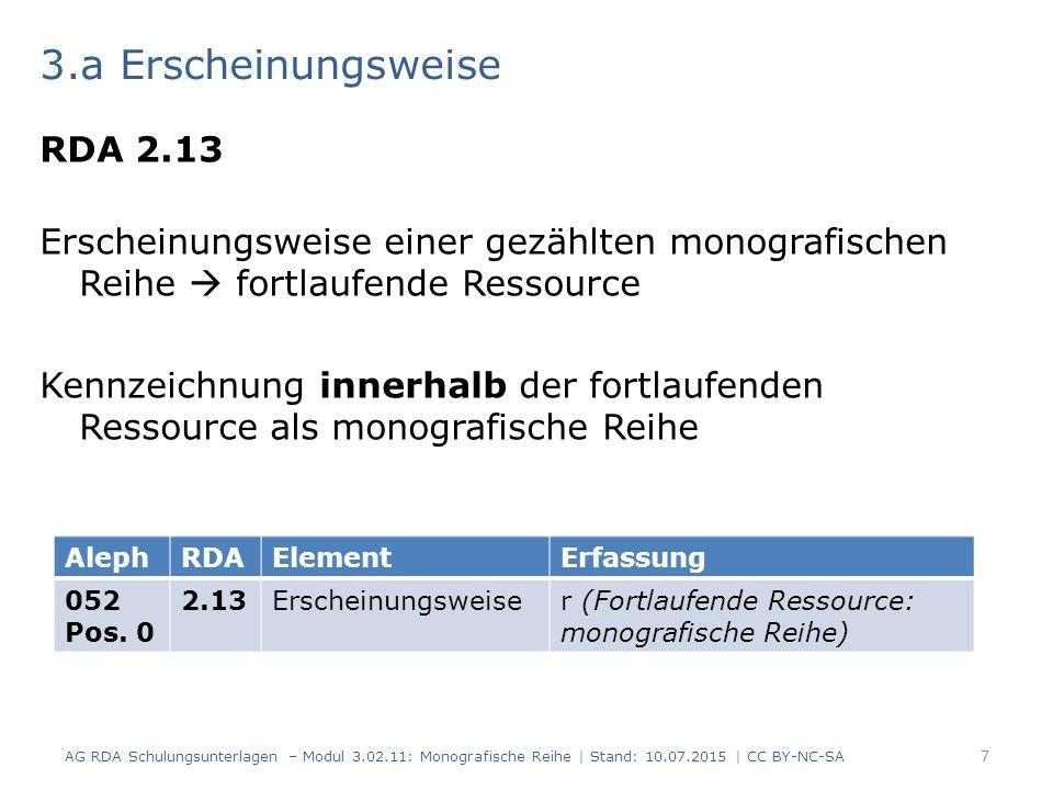 3.a Erscheinungsweise RDA 2.13 Erscheinungsweise einer gezählten monografischen Reihe  fortlaufende Ressource Kennzeichnung innerhalb der fortlaufenden Ressource als monografische Reihe AG RDA Schulungsunterlagen – Modul 3.02.11: Monografische Reihe | Stand: 10.07.2015 | CC BY-NC-SA 7 AlephRDAElementErfassung 052 Pos.