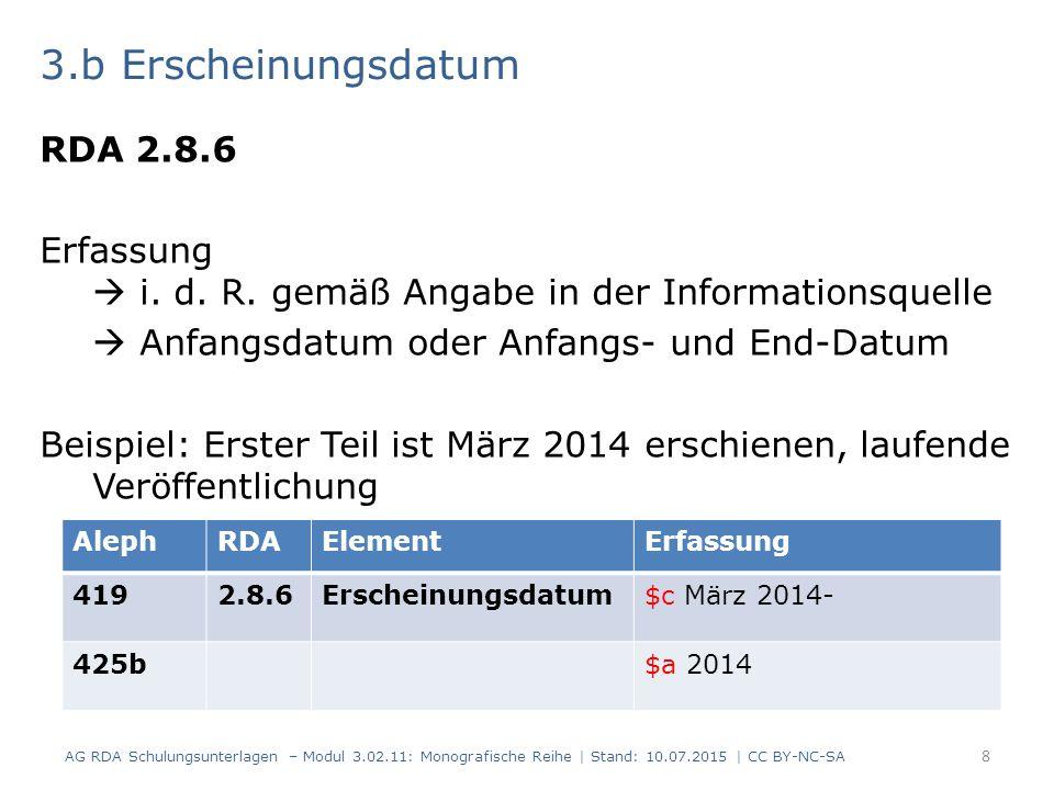 3.b Erscheinungsdatum RDA 2.8.6 Erfassung  i.d. R.