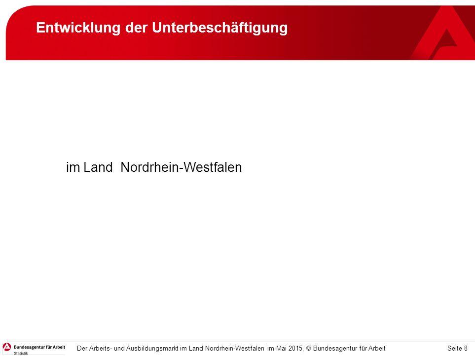 Seite 8 Entwicklung der Unterbeschäftigung im Land Nordrhein-Westfalen Der Arbeits- und Ausbildungsmarkt im Land Nordrhein-Westfalen im Mai 2015, © Bundesagentur für Arbeit