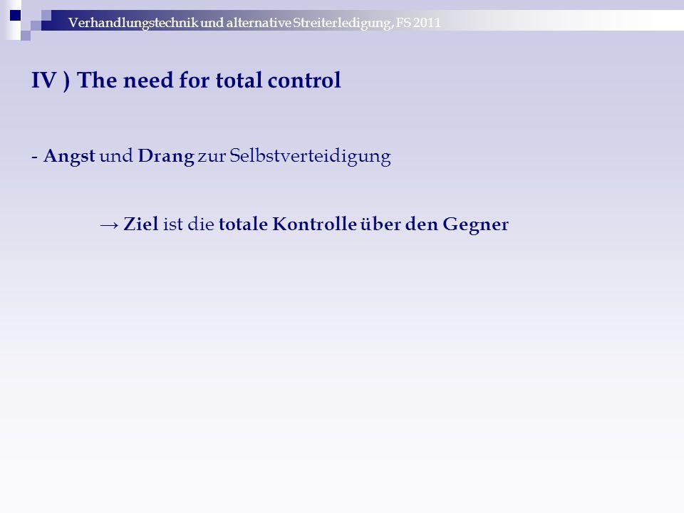 Verhandlungstechnik und alternative Streiterledigung, FS 2011 IV ) The need for total control - Angst und Drang zur Selbstverteidigung → Ziel ist die
