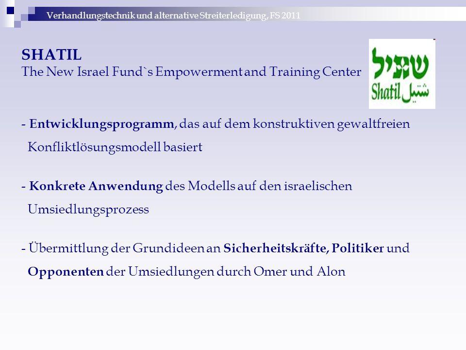 Verhandlungstechnik und alternative Streiterledigung, FS 2011 SHATIL The New Israel Fund`s Empowerment and Training Center - Entwicklungsprogramm, das
