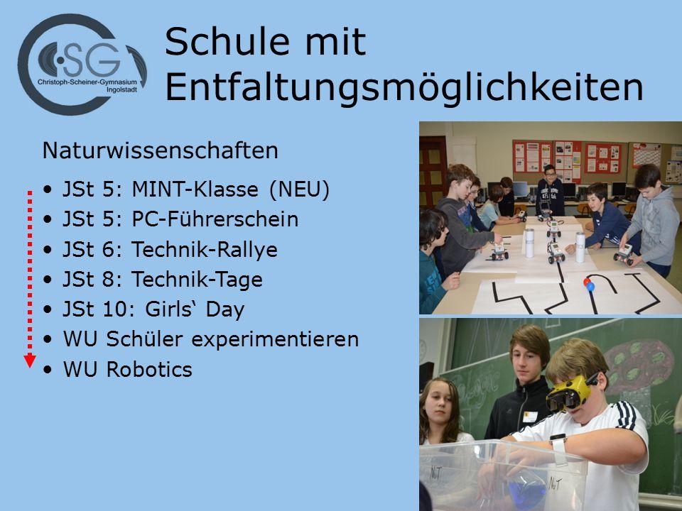 Schule mit Entfaltungsmöglichkeiten Naturwissenschaften JSt 5: MINT-Klasse (NEU) JSt 5: PC-Führerschein JSt 6: Technik-Rallye JSt 8: Technik-Tage JSt