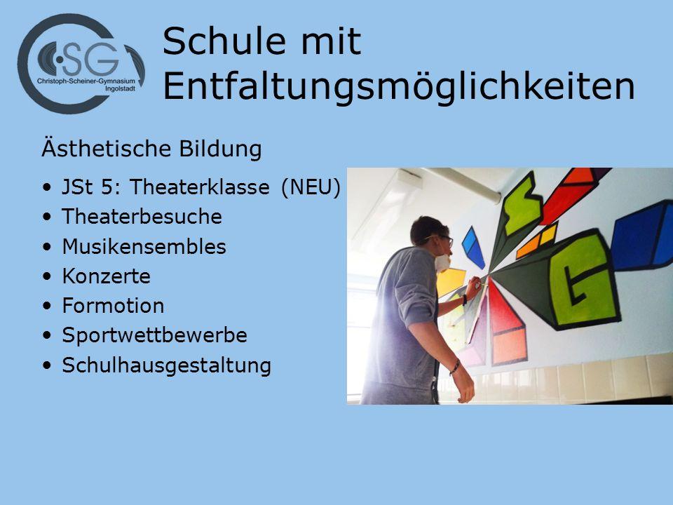 Schule mit Entfaltungsmöglichkeiten Ästhetische Bildung JSt 5: Theaterklasse (NEU) Theaterbesuche Musikensembles Konzerte Formotion Sportwettbewerbe Schulhausgestaltung