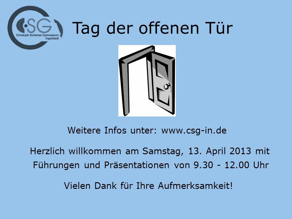 Tag der offenen Tür Herzlich willkommen am Samstag, 13. April 2013 mit Führungen und Präsentationen von 9.30 - 12.00 Uhr Vielen Dank für Ihre Aufmerks