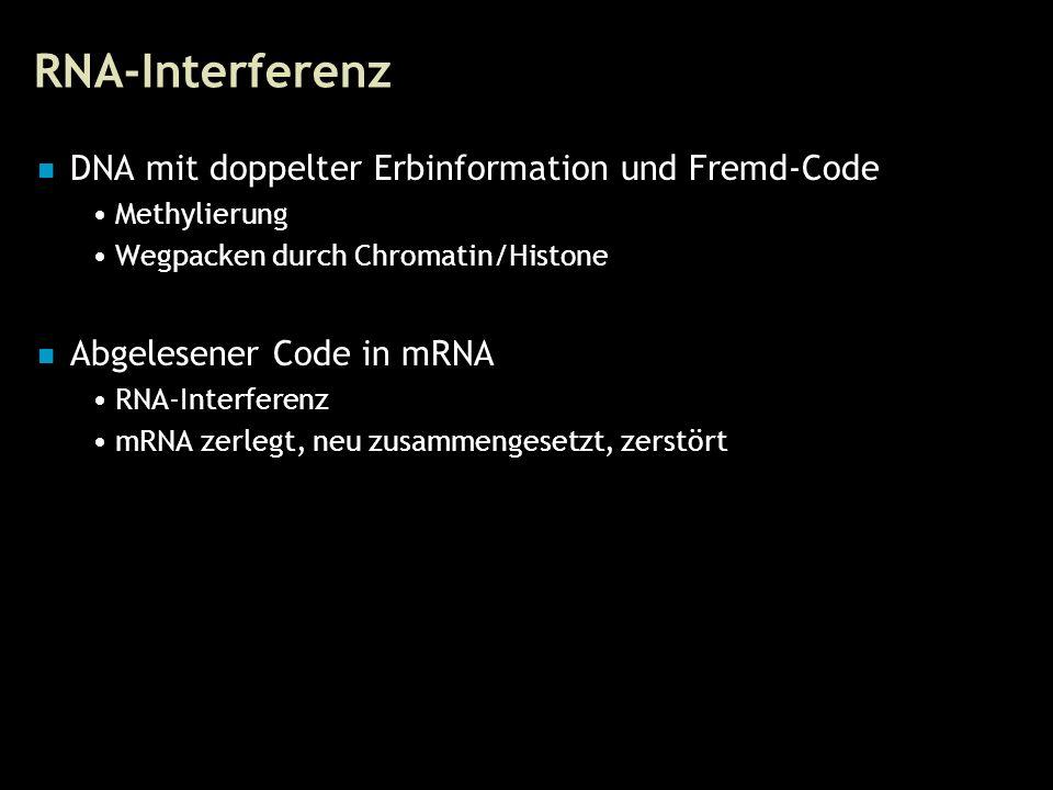 20 RNA-Interferenz DNA mit doppelter Erbinformation und Fremd-Code Methylierung Wegpacken durch Chromatin/Histone Abgelesener Code in mRNA RNA-Interfe