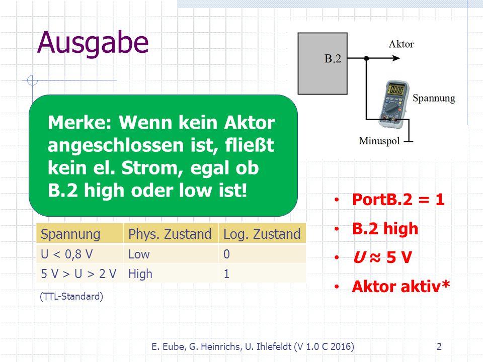 Ausgabe E. Eube, G. Heinrichs, U. Ihlefeldt (V 1.0 C 2016) 2 Digitale Daten (1 bzw. 0) werden durch Spannungen (genauer: Potenziale) kodiert. Sprechwe