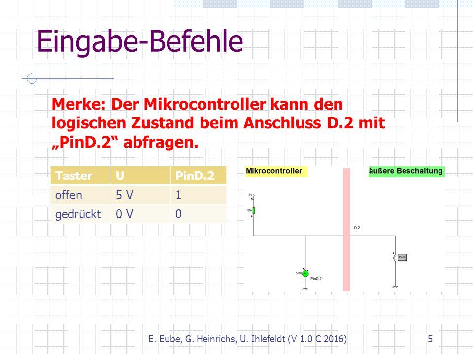 """Eingabe-Befehle E. Eube, G. Heinrichs, U. Ihlefeldt (V 1.0 C 2016) 5 Merke: Der Mikrocontroller kann den logischen Zustand beim Anschluss D.2 mit """"Pin"""