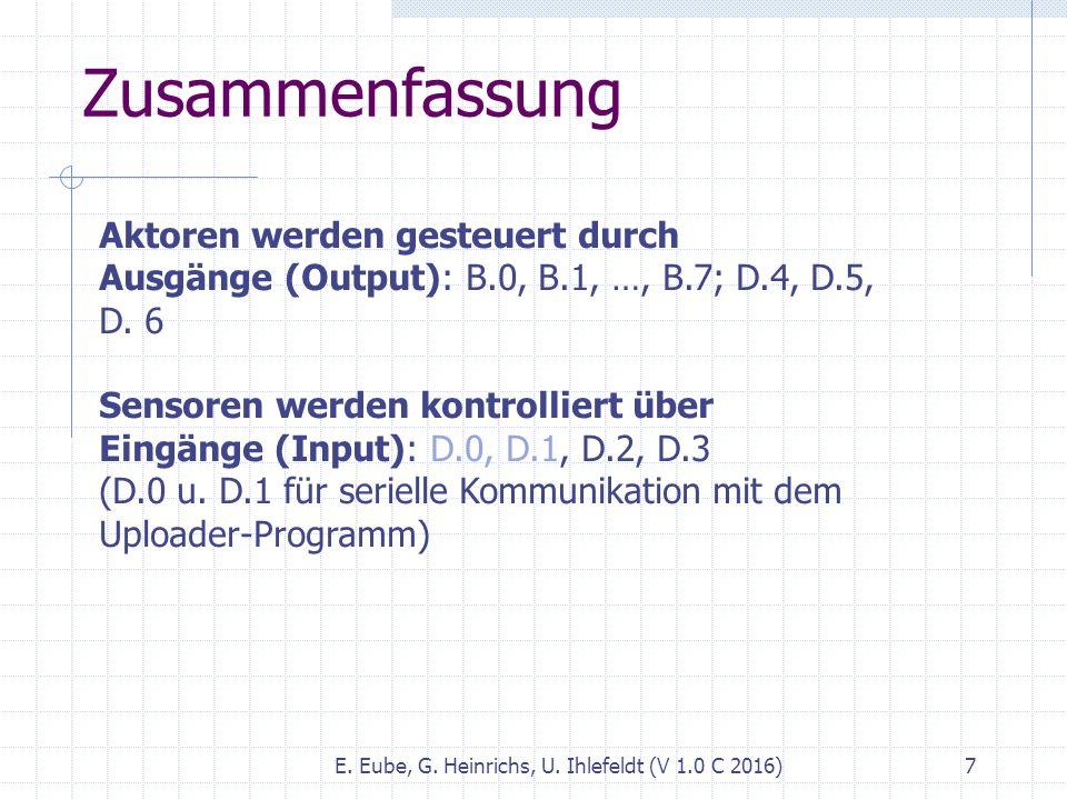 Zusammenfassung E. Eube, G. Heinrichs, U. Ihlefeldt (V 1.0 C 2016) 7 Aktoren werden gesteuert durch Ausgänge (Output): B.0, B.1, …, B.7; D.4, D.5, D.