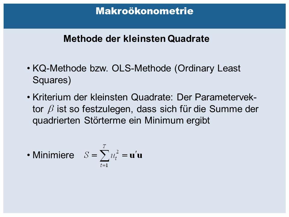 Außenhandelsbeziehungen zwischen China, USA, EU Makroökonometrie Methode der kleinsten Quadrate KQ-Methode bzw.