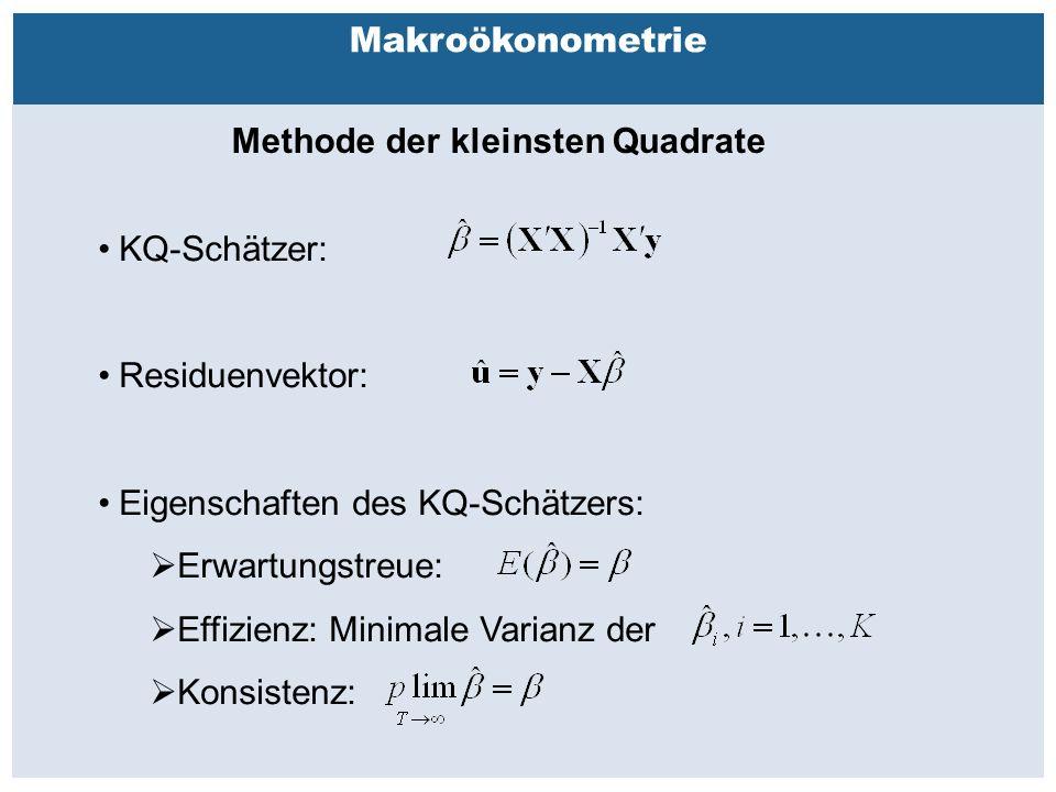 Außenhandelsbeziehungen zwischen China, USA, EU Makroökonometrie Methode der kleinsten Quadrate KQ-Schätzer: Residuenvektor: Eigenschaften des KQ-Schätzers:  Erwartungstreue:  Effizienz: Minimale Varianz der  Konsistenz: