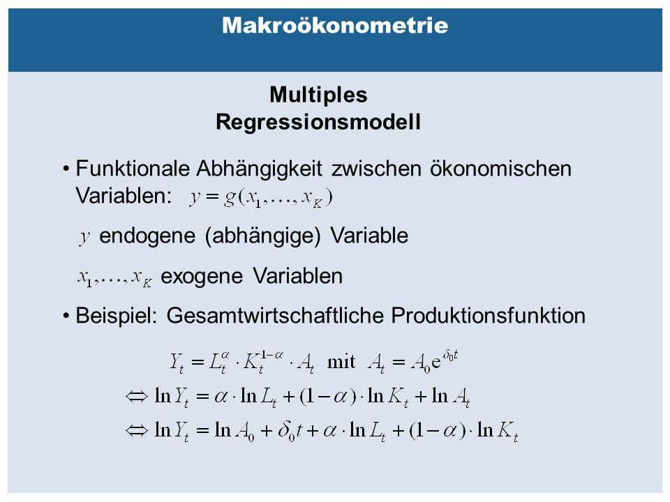 Außenhandelsbeziehungen zwischen China, USA, EU Makroökonometrie Multiples Regressionsmodell Funktionale Abhängigkeit zwischen ökonomischen Variablen: endogene (abhängige) Variable exogene Variablen Beispiel: Gesamtwirtschaftliche Produktionsfunktion
