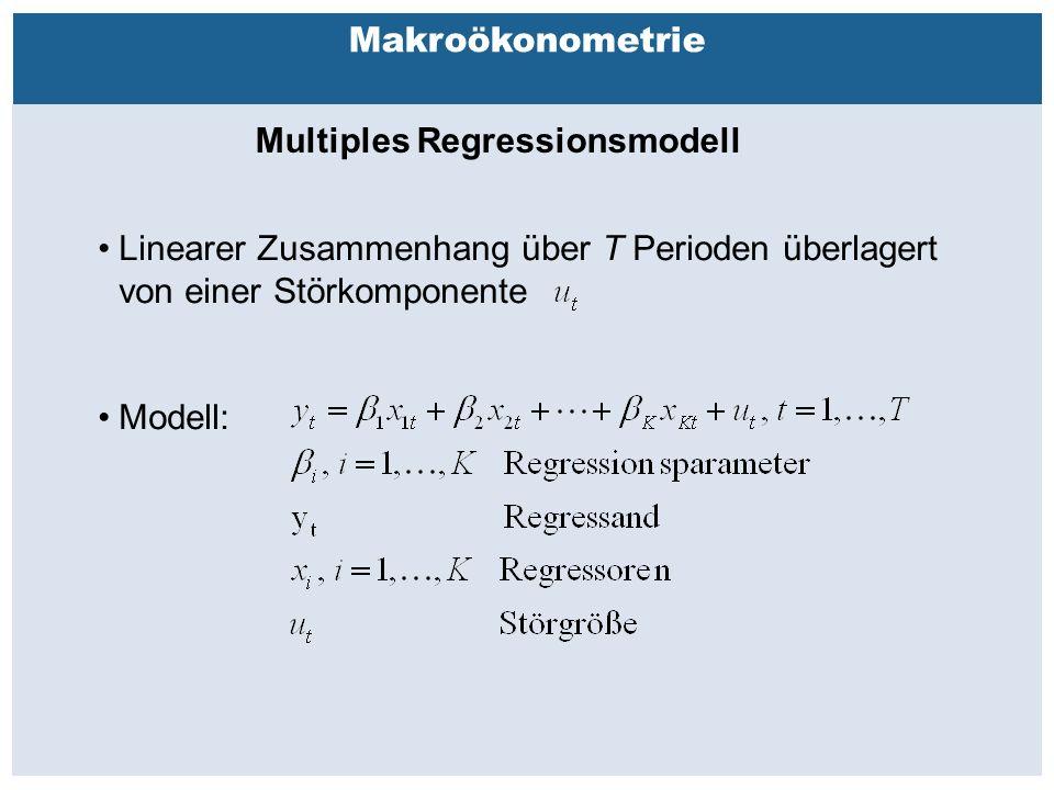 Außenhandelsbeziehungen zwischen China, USA, EU Makroökonometrie Multiples Regressionsmodell Linearer Zusammenhang über T Perioden überlagert von einer Störkomponente Modell:
