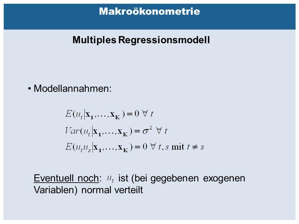 Außenhandelsbeziehungen zwischen China, USA, EU Makroökonometrie Multiples Regressionsmodell Modellannahmen: Eventuell noch: ist (bei gegebenen exogenen Variablen) normal verteilt