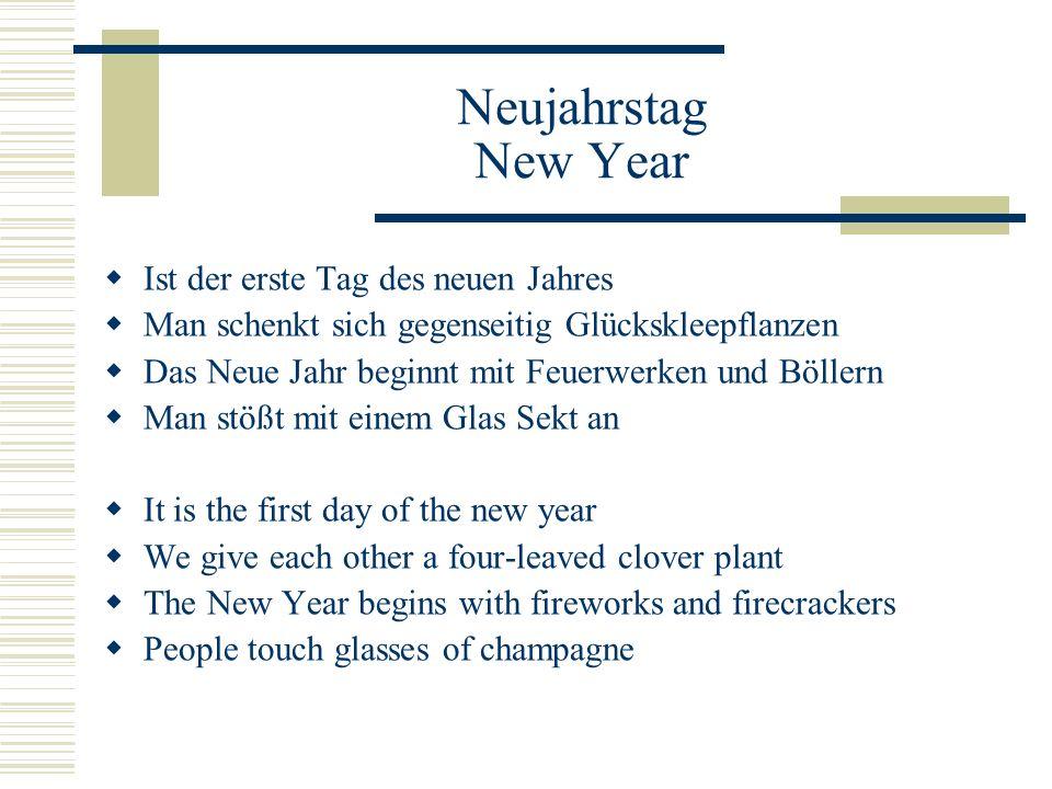 Silvester New Year's Eve  Letzter Tag im Jahr  Verschiedene Bräuche, z.