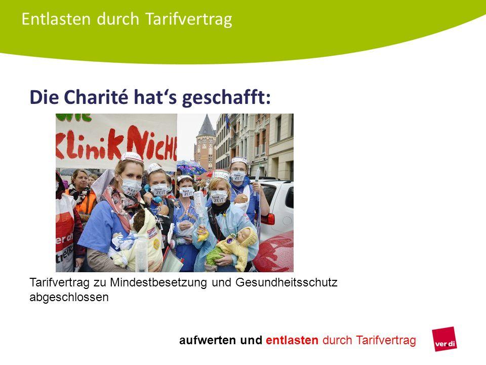 aufwerten und entlasten durch Tarifvertrag Die Charité hat's geschafft: Entlasten durch Tarifvertrag Tarifvertrag zu Mindestbesetzung und Gesundheitss