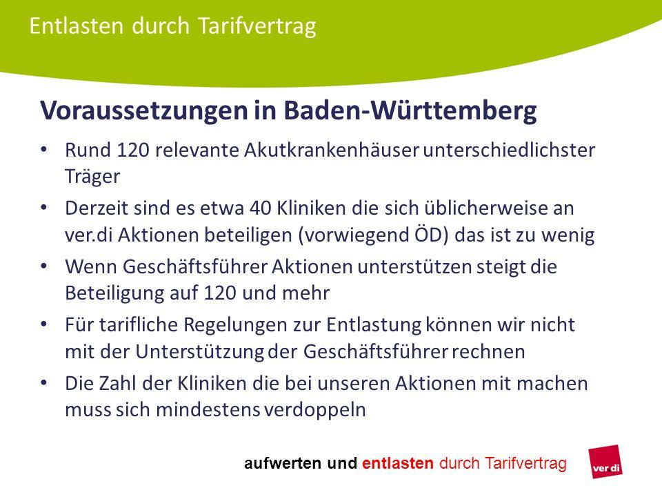 aufwerten und entlasten durch Tarifvertrag Voraussetzungen in Baden-Württemberg Rund 120 relevante Akutkrankenhäuser unterschiedlichster Träger Derzei