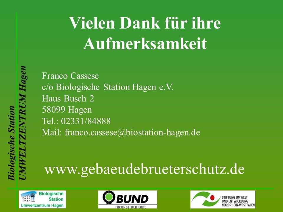 Vielen Dank für ihre Aufmerksamkeit Biologische Station UMWELTZENTRUM Hagen Franco Cassese c/o Biologische Station Hagen e.V. Haus Busch 2 58099 Hagen