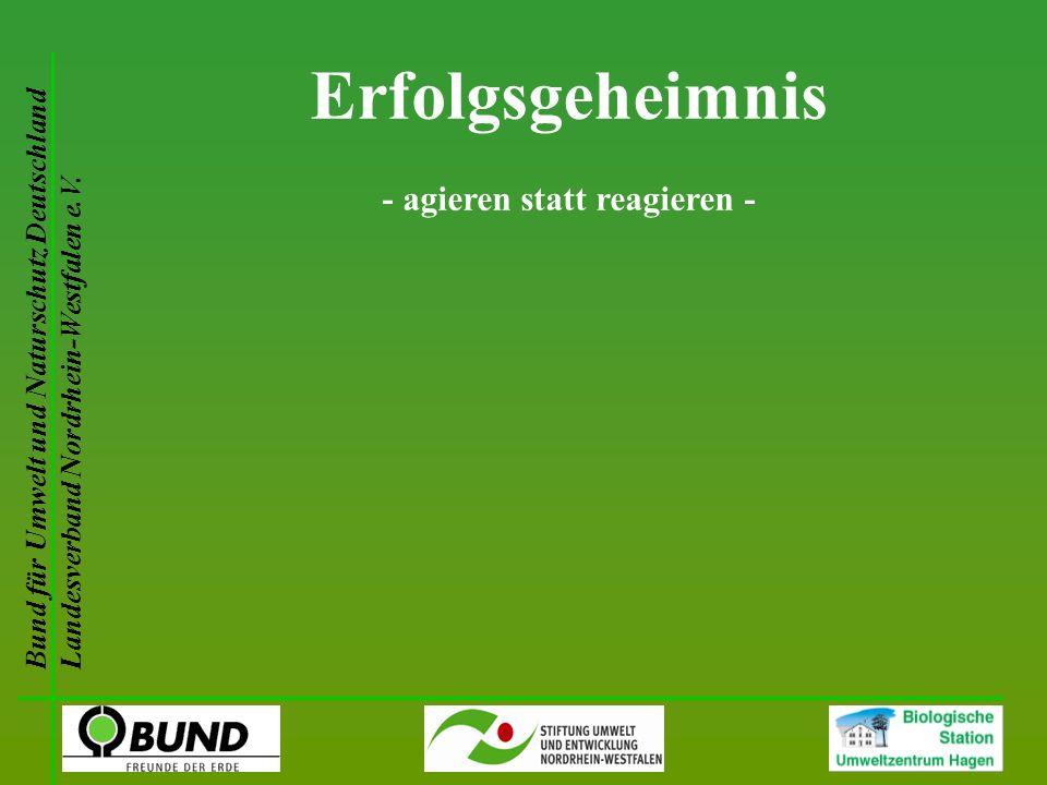 Bund für Umwelt und Naturschutz Deutschland Landesverband Nordrhein-Westfalen e.V. Erfolgsgeheimnis - agieren statt reagieren -