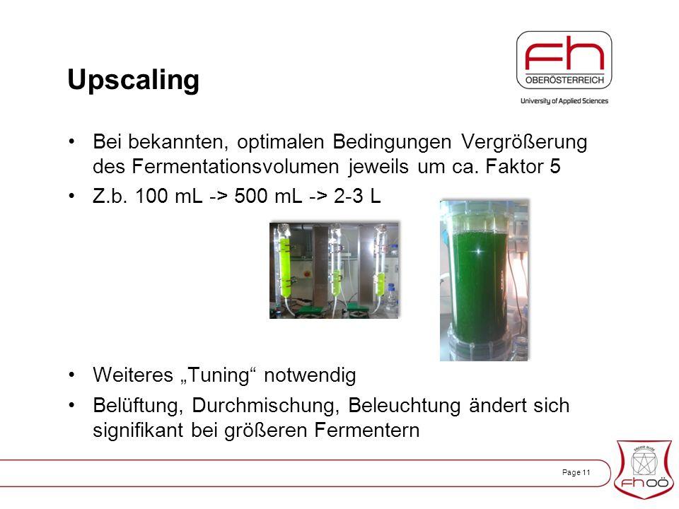 Page 11 Upscaling Bei bekannten, optimalen Bedingungen Vergrößerung des Fermentationsvolumen jeweils um ca.