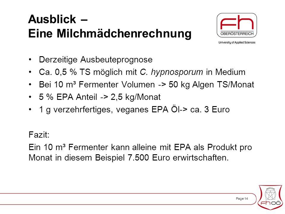 Page 14 Ausblick – Eine Milchmädchenrechnung Derzeitige Ausbeuteprognose Ca.