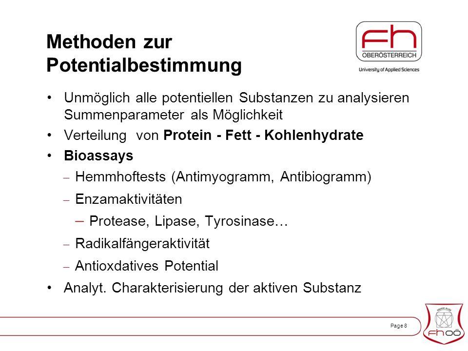 Page 8 Methoden zur Potentialbestimmung Unmöglich alle potentiellen Substanzen zu analysieren Summenparameter als Möglichkeit Verteilung von Protein - Fett - Kohlenhydrate Bioassays  Hemmhoftests (Antimyogramm, Antibiogramm)  Enzamaktivitäten  Protease, Lipase, Tyrosinase…  Radikalfängeraktivität  Antioxdatives Potential Analyt.