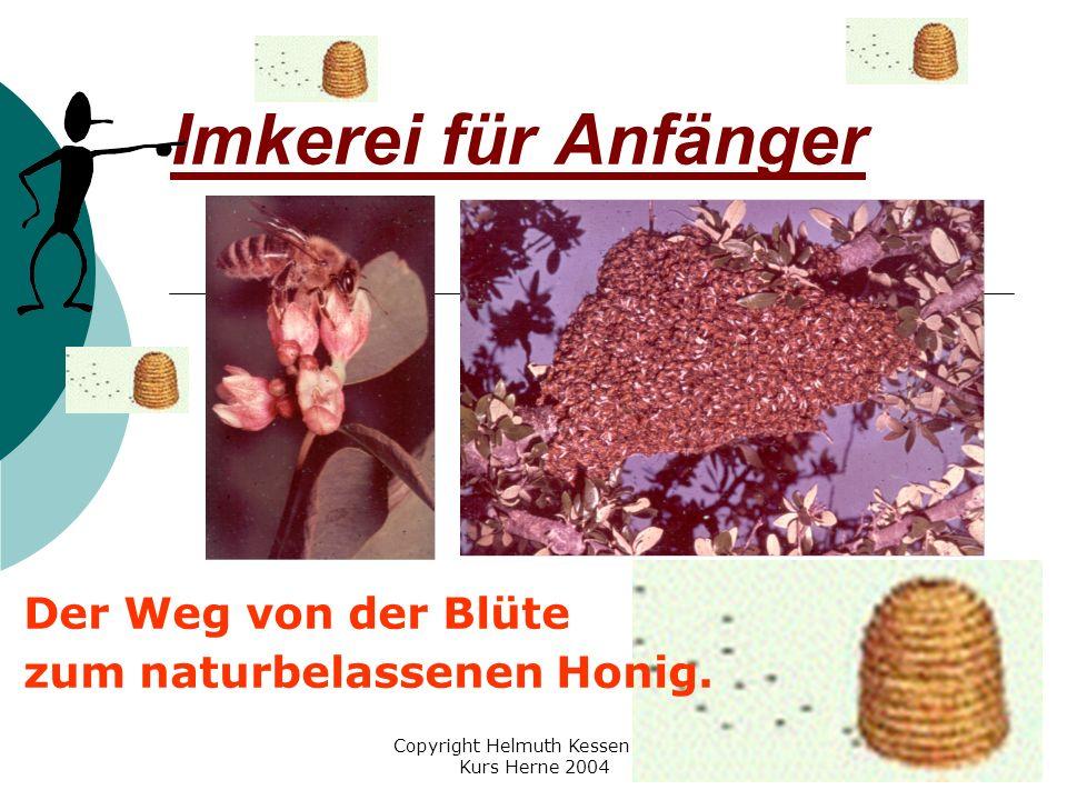 Copyright Helmuth Kessen VHS Kurs Herne 2004 Imkerei für Anfänger Der Weg von der Blüte zum naturbelassenen Honig.