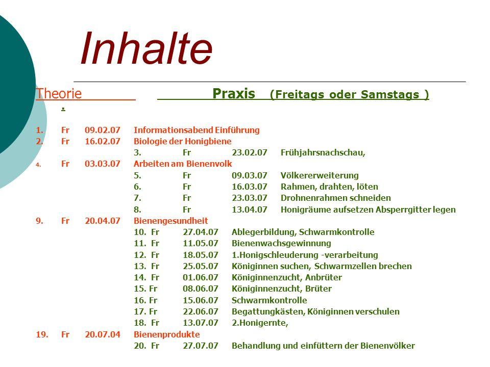 Inhalte Theorie Praxis (Freitags oder Samstags ).