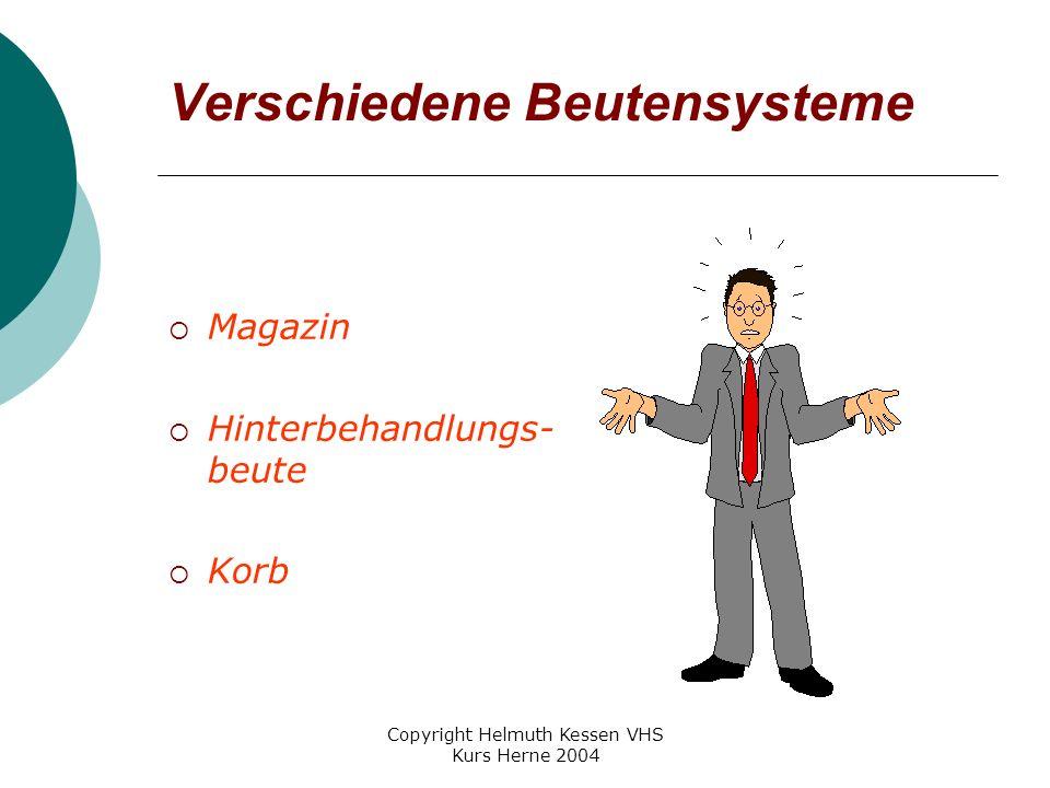 Copyright Helmuth Kessen VHS Kurs Herne 2004 Verschiedene Beutensysteme  Magazin  Hinterbehandlungs- beute  Korb