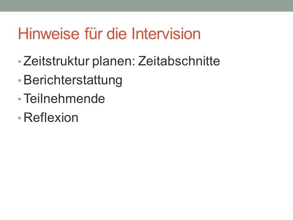 Hinweise für die Intervision Zeitstruktur planen: Zeitabschnitte Berichterstattung Teilnehmende Reflexion