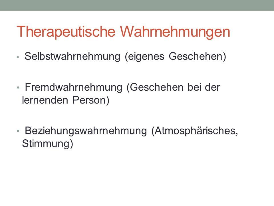 Therapeutische Wahrnehmungen Selbstwahrnehmung (eigenes Geschehen) Fremdwahrnehmung (Geschehen bei der lernenden Person) Beziehungswahrnehmung (Atmosphärisches, Stimmung)