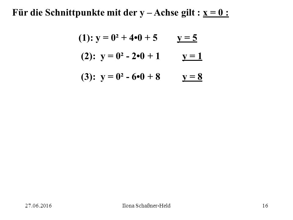 S 1 ( -2 ; 1 ) S 2 ( 1 ; 0 ) S 3 ( 3 ; -1 ) (1): keine NS (D < 0) (2): NS: 1 (D = 0) (3): NS`n: 2 und 4 (D > 0) D C B 1527.06.2016Ilona Schaßner-Held