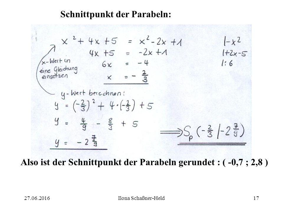 27.06.2016Ilona Schaßner-Held16 Für die Schnittpunkte mit der y – Achse gilt : x = 0 : (1): y = 0² + 40 + 5 y = 5 (2): y = 0² - 20 + 1 y = 1 (3): y =