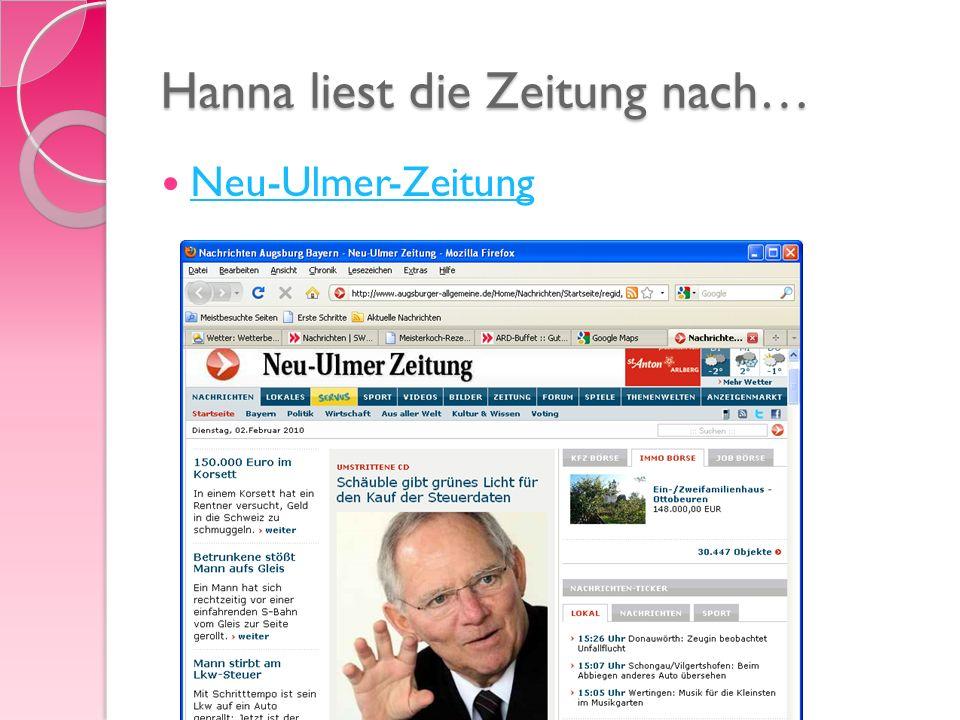 Hanna liest die Zeitung nach… Neu-Ulmer-Zeitung