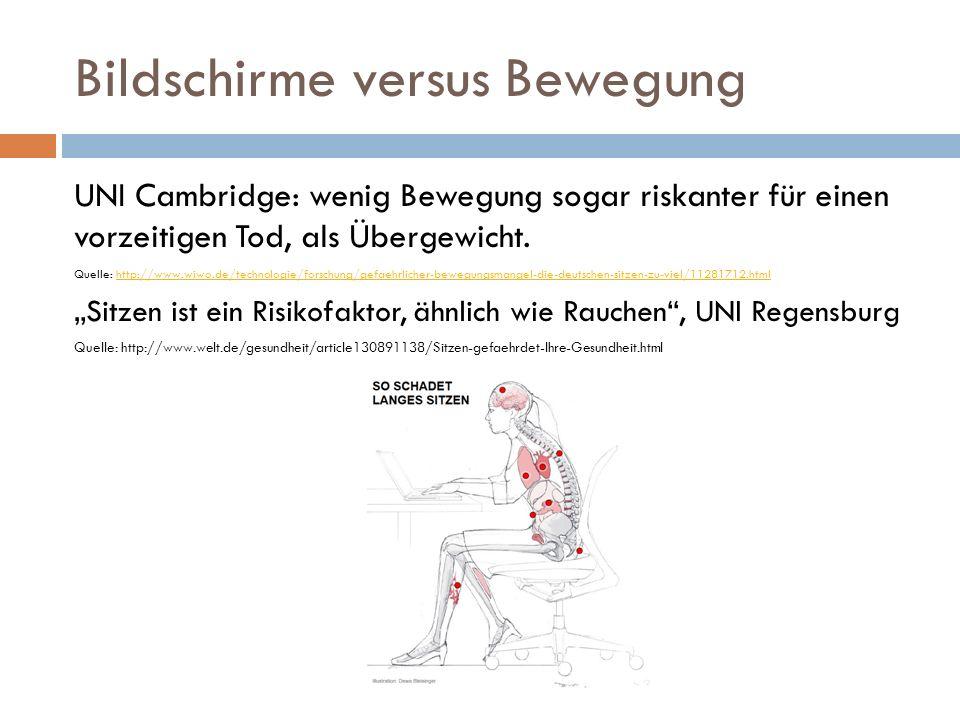 Bildschirme versus Bewegung UNI Cambridge: wenig Bewegung sogar riskanter für einen vorzeitigen Tod, als Übergewicht. Quelle: http://www.wiwo.de/techn