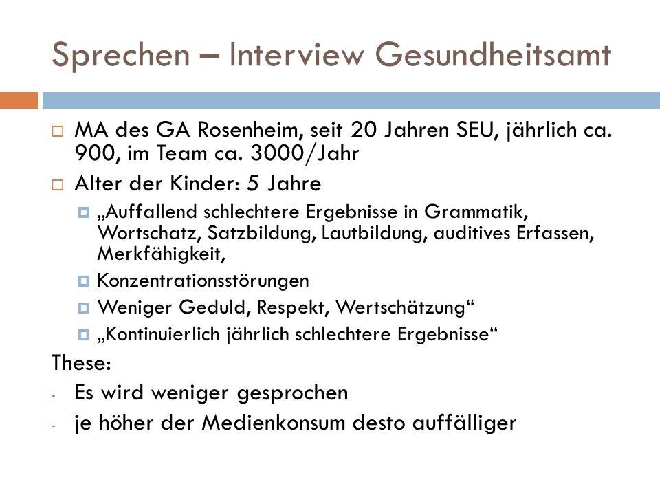 """Sprechen – Interview Gesundheitsamt  MA des GA Rosenheim, seit 20 Jahren SEU, jährlich ca. 900, im Team ca. 3000/Jahr  Alter der Kinder: 5 Jahre  """""""