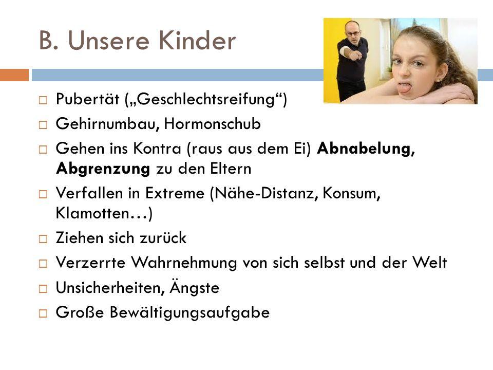 "B. Unsere Kinder  Pubertät (""Geschlechtsreifung"")  Gehirnumbau, Hormonschub  Gehen ins Kontra (raus aus dem Ei) Abnabelung, Abgrenzung zu den Elter"