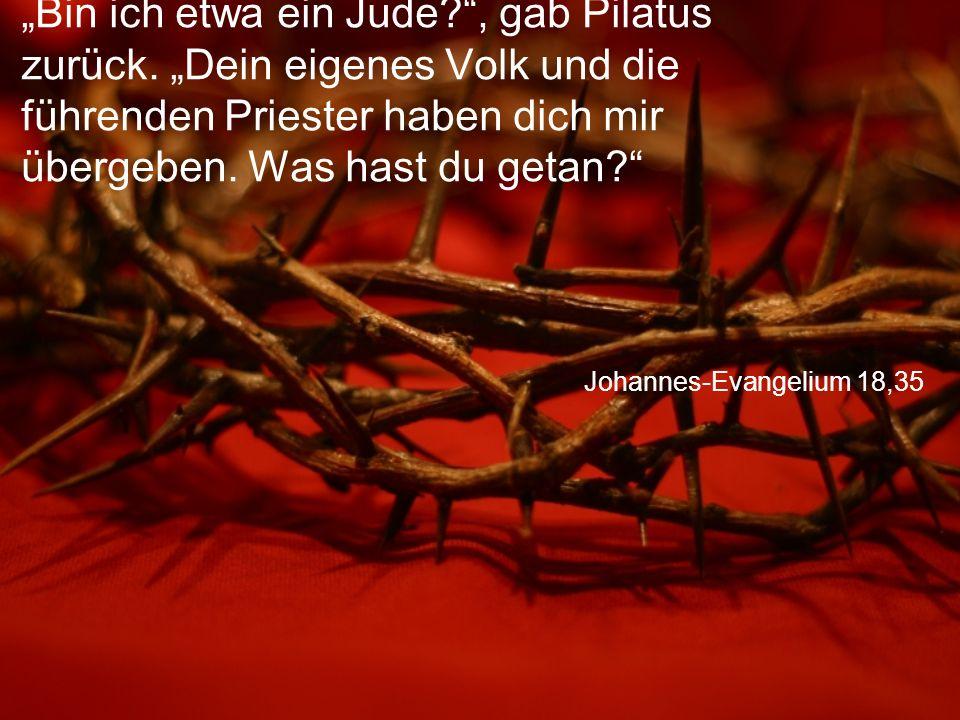 """Johannes-Evangelium 18,35 """"Bin ich etwa ein Jude?"""", gab Pilatus zurück. """"Dein eigenes Volk und die führenden Priester haben dich mir übergeben. Was ha"""