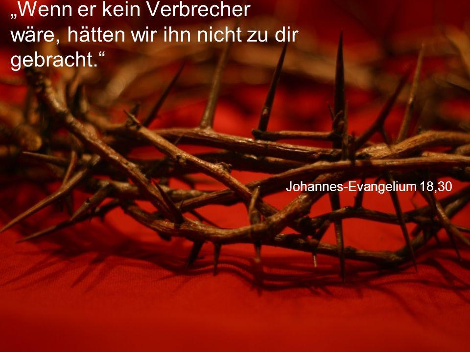 """Johannes-Evangelium 18,30 """"Wenn er kein Verbrecher wäre, hätten wir ihn nicht zu dir gebracht."""